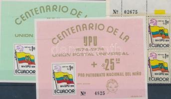 1974 100 éves az UPU Mi 1629 ívsarki négyestömbben + blokk 66-67 (papírránc)