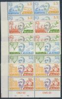 1974 100 éves az UPU sor ívsarki négyestömbökben Mi 497-500