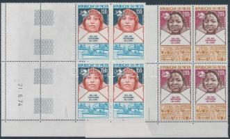 1974 100 éves az UPU sor ívsarki négyestömbökben 4-4 üresmezővel Mi 442-445