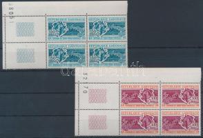 1974 100 éves az UPU sor ívsarki négyestömbökben 2-2 üresmezővel Mi 537-538