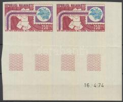 1974 100 éves az UPU vágott ívsarki pár 4 üresmezővel Mi 716