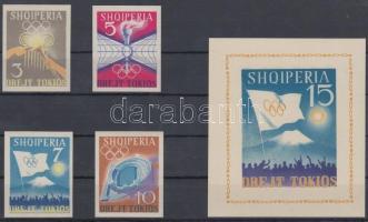 1964 Tokiói nyári olimpia sor Mi 828-831 + blokk Mi 23