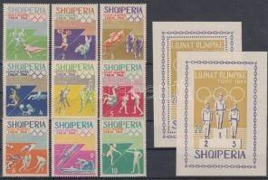 1964 Tokiói nyári olimpia sor Mi 859-868 + fogazott és vágott blokk Mi 26 A-B