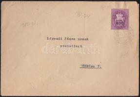 1946 (13. díjszabás) Távolsági levél 250gr-ig Lovasfutár 800ezerP bélyeggel kissé túlbérmentesítve