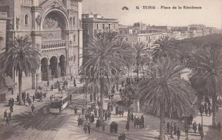 Tunis, Place de Résidence / square, tram