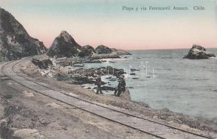 Arauco, railroad by the beach