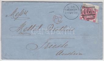1871 levél Liverpoolból Triesztbe