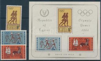 1964 Tokiói nyári olimpia sor Mi 237-239 + blokk Mi 2