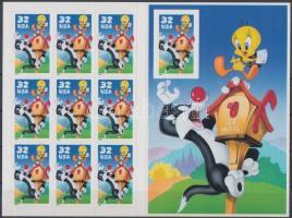 1998 Rajzfilmfigurák, Szilveszter és Csőrike öntapadós bélyegfólia Mi F-Bl. 45a (Mi 2950)
