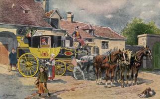 French express post in 1840, s: H.Schnorpfeil, 1840 Francia gyorsposta, s: H.Schnorpfeil