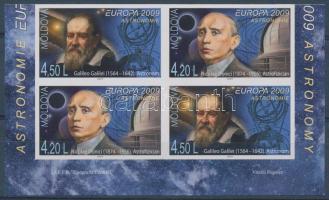 2009 Európa: Csillagászat 2 vágott sor fél bélyegfüzetlapon Mi 650 B-651 B