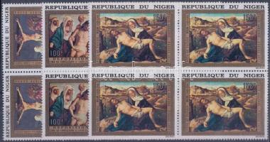 1973 Húsvét: Festmények sor négyestömbökben Mi 376-378