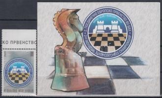 2001 Sakk Európa-bajnokság ívszéli bélyeg + bélyegfüzet, benne kisív Mi 231
