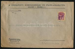 1945 (2. díjszabás) Nyomtatvány Kisegítő 40f/24f bélyeggel, a felülnyomás jelentősen eltolódott
