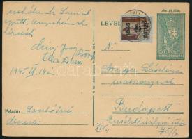1945 (2. díjszabás) Távolsági levelezőlap Kisegítő 2P/4f bérmentesítéssel