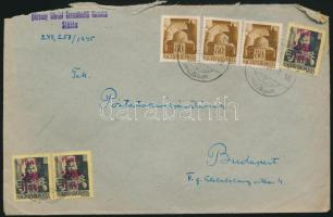 1945 (2. díjszabás) Távolsági levél 3x Hadvezérek 80f + Kisegítő 3x 20f/18f bérmentesítéssel