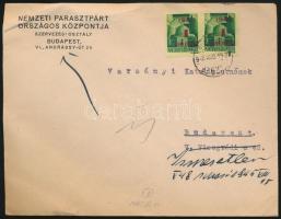 1945 (2. díjszabás) Helyi levél 2x Kisegítő 1P/1P bérmentesítéssel