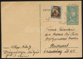 1945 (2. díjszabás) Távolsági levelezőlap Kisegítő 2P/2P bérmentesítéssel