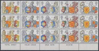 1998 Címerállatok Mi 1734-1738 3 sort tartalmazó összefüggés