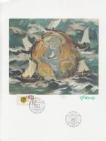 1974 100 éves az UPU boríték terv a tervező aláírásával + Mi 39 elsőnapi bélyegzéssel