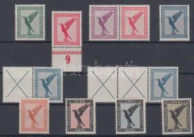 1926/1927 Repülőposta sor közte füzet összefüggések / Mi 378-384 with stamp booklet varieties