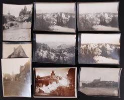 cca 1910 9 db városképes fotó, nagyrészt Budapest 11x10 cm
