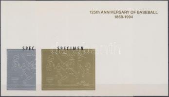 1992 Nemzetközi Bélyegkiállítás, Genova; 125 éves a Baseball arany és ezüstfóliás blokk Mi 185-186 MINTA