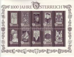 1000 years Austria block, 1000 éves Ausztria blokk, 1000 Jahre Österreich Block