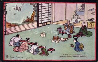 New Year 'Queer things about Japan Series I.' by Douglas Sladen, Raphael Tuck Oilette, Japán folklór, Újév, Raphael Tuck Oilette