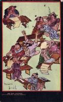 Bad boys in school 'Queer things about Japan Serie I.' by Douglas Sladen, Raphael Tuck Oilette, Rossz fiúk az iskolában, Japán folklór, Raphael Tuck Oilette