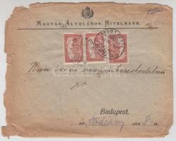 1923 (10. díjszabás) 3 x Parlament 100K MAH céglyukasztással helyi levélen (megviselt állapotban)