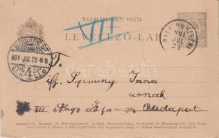 1910 Díjjegyes levelezőlap BALATON-BERÉNY - Budapest