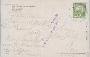 1916 Képeslap eszéki katonai cenzúrával Pécsre