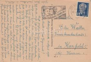 1951 Képeslap Világifjúsági találkozó propaganda bélyegzéssel