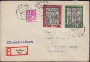 1951 Marienkirche Mi 139-140 díjkiegészítéssel ajánlott levélen Magyarországra / on registered cover to Hungary