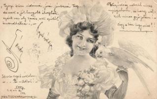 Hölgy papagájjal 'A. S. W. Serie b. Herzblättchen', Lady, parrot 'A. S. W. Serie b. Herzblättchen'