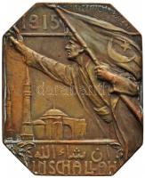 "Törökország / V. Mehmed 1915. ""Vörös Félhold - INSCHALLAH"" Br plakett. Szign.: H. Dietrich / Wien (40x49mm) Turkey / V. Mehmed 1915. ""Turkish Red Crescent - INSCHALLAH"" Br plaque. soldier holding flag reaches out towards mosque, legend below in Arabic. Sign: H. Dietrich / Wien (40x49mm)"