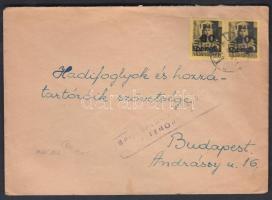 1946 (5. díjszabás) Távolsági levél 2x Kisegítő 60P/18f bérmentesítéssel, cenzúra bélyegzéssel