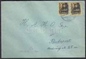 1945 (5. díjszabás) Távolsági levél 2x Kisegítő 60P/18f bérmentesítéssel, cenzúra bélyegzéssel