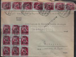 1945 (5. díjszabás) Távolsági levél 30x Kisegítő 4P/30f bérmentesítéssel, cenzúra bélyegzéssel