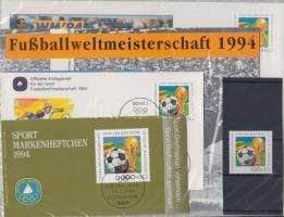 1994 Labdarúgó VB, USA bélyeg Mi 1718 + FDC + bélyegfüzet + emléklap + ETB (első hivatalos telefonkártya levél)