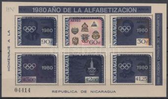 1980 Analfabetizmus elleni kampány; Nyári olimpia, Moszkva felülnyomással blokk Mi 125