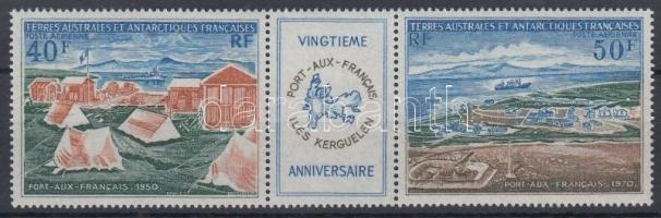 1971 20 éves a francia kikötő a Kerguelen-szigeten hármascsík Mi 65-66