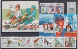 Winter Olympics lot 5 diff. countries 11 diff. stamps + 2 diff. blocks, Téli olimpia motívum tétel 5 klf ország 11 klf bélyeg + 2 klf blokk