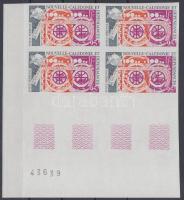 100 éves az UPU vágott ívsarki üresmezős négyestömb UPU Centenary imperf corner blankfield block of 4
