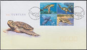 Sea Turtles block of 4 FDC Tengerei teknősök négyestömb FDC