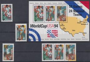 1994 Labdarúgó VB, USA sor Mi 2457-2459 I. + blokkból kitépett hármascsík Mi 2457-2459 II. + blokk 33
