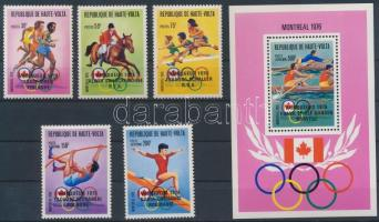 1977 Olimpiai érmesek sor fekete felülnyomással Mi 653-657 + blokk Mi 45 (próbanyomat)