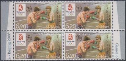 2008 Nyári olimpia, Peking; Bronzérmes lett Veaceslav Gojan boxban felülnyomással ívszéli négyestömb Mi 635