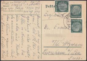 1938 Díjkiegészített díjjegyes levelezőlap Angliába
